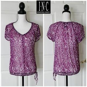 INC Aztec print stretchy blouse sz petite L